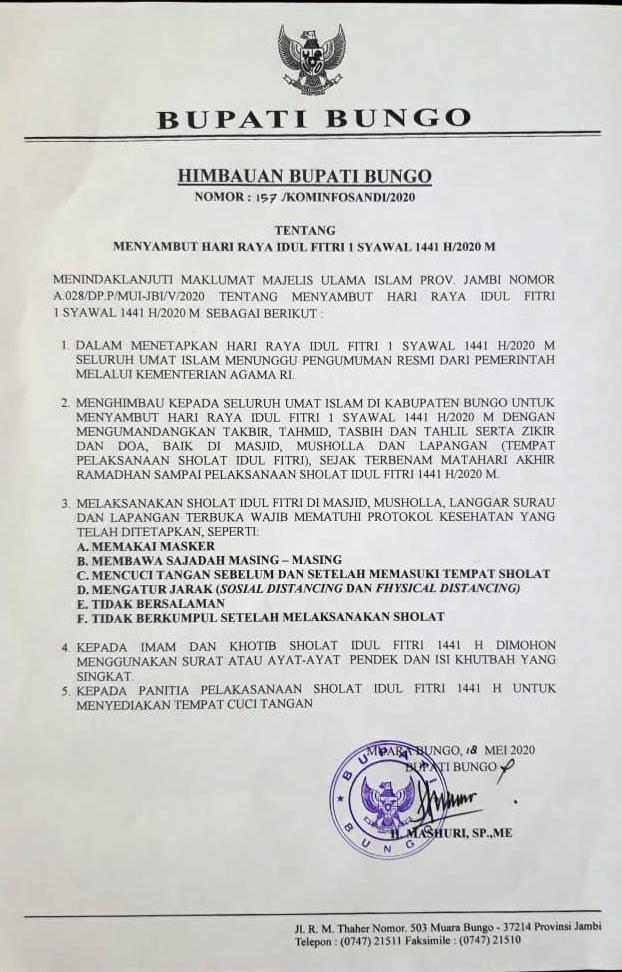 Himbauan Bupati Bungo Tentang Hari Raya Idul Fitri 1 Syawal 1441 H/2020 M